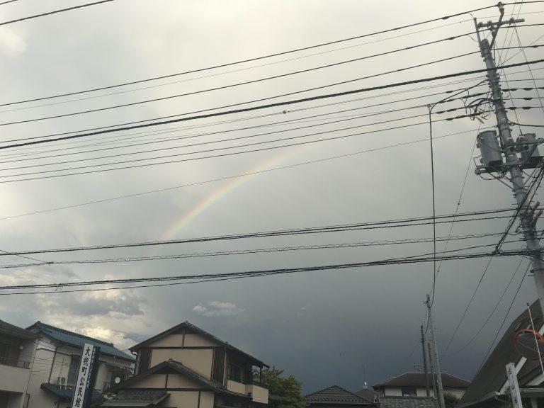 雨の後、虹が出ましたね